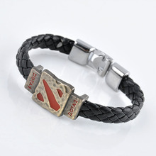 Metal Dotas 2 Game Leather Bracelet Men Bracelet Men Jewelry Boy Gift Cosplay Bangles Feather Braided Wristband Bracelet(China)