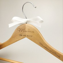 PINJEAS 10Pc Customizable Wooden Bridal Dress Hanger Laser Engraved Name And Date Natural Home Decor Clothes For The Best Gifts