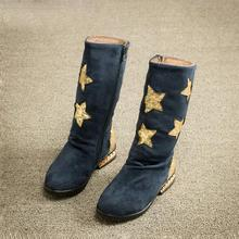 New style kids boots girls shoes fashion sequin star pattern high boots girls winter boots kids warm cotton girls boots kids