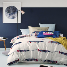 Simple Style Animal Bedding Sets 100% Cotton 4PCS Fish Shark Printing Comforter Duvet Cover Winter Bedclothes For Home Hospital
