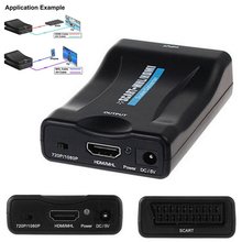 NEW Full HD 1080P SCART To HDMI Converter Splitter HDTV Audio Video Converter Projector with Power Supply Adapter