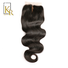 King Rosa Queen Silk Base Closure Body Wave Brazilian Remy Hair 4x4 Human Hair Closure Middle Part Bleached Knots Swiss Lace