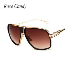Rose Candy Oversized Men Sunglasses Brand Designer Flat Top Sun Glasses Gold Square Male Oculos de sol High Quality Five Style(China)