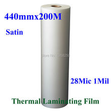 "1 PC 28Mic 440mmx200M 1Mil Satin Matt 1"" Core Hot Laminating Films Bopp for Hot Roll Laminator"