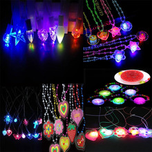 New Cartoon LED Light Up Necklace Pendant Flashing Crystal Necklaces Kids Halloween Birthday Glow Party Christmas(China)