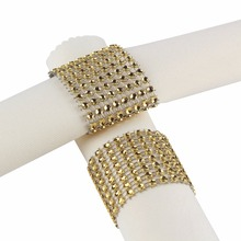 100pcs Gold/Silver Rhinestone Napkin Rings for Wedding Decoration Plastic Chair Sash Bows Napkin Holders Table Deco Accessories(China)