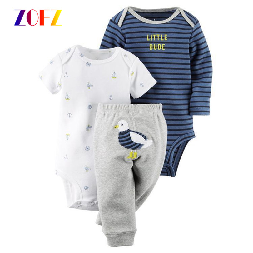 ZOFZ Baby Boy Girl Bodysuits Body Suits 3PCS Infant Body Cotton Fleece ClothingShort Sleeve+Full Sleeve Climbing Romper+Pants<br><br>Aliexpress