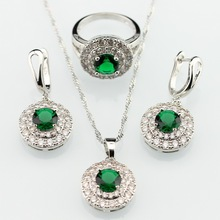 Green Imitated Emerald White Zircon sterling-silver-jewelry   Women Jewelry Sets Necklace Pendant Drop Earrings Rings