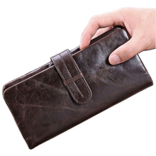 New Barnd Genuine leather Men Organizer Wallet Vintage Oil Wax Money Purse Card holder Phone Coin Package Zipper Clutch Bag