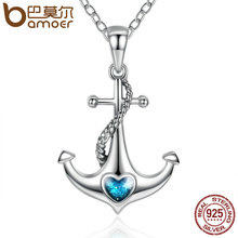 BAMOER Classic 925 Sterling Silver Blue Heart Crystal Anchor Pendant Necklaces Women Fashion Jewelry Engagement SCN051(China)