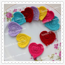2016 korean fashion 4cm 60 pic/lot wedding decoration flower lace cotton artificial flowers for party decor with heart shape(China)