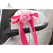 Genie Wedding Car Decoration Artificial Flower Foam Rose 10 Colors Car Door Handles and Rearview Mirror Decor Satin Ribbon Cheap