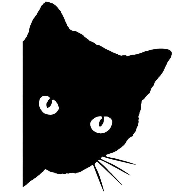 HotMeiNi 50x50cm 2X Cat Face With Whiskers Peeking Car Sticker For Door Side Truck Window Rear Windshield Vinyl Black/Sliver<br>
