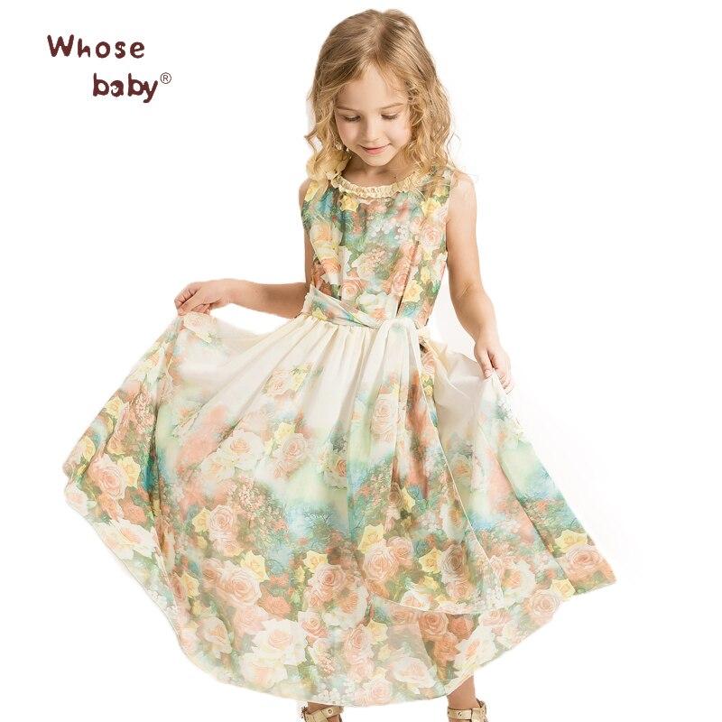 Brand 2017 Summer Dress Girl Flower Printed Chiffon Princess Dress Kids Sleeveless Bohemian Dress Child Casual Costume Whosebaby<br><br>Aliexpress
