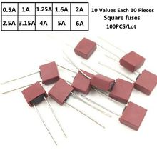 10Kinds 100Pcs/lot Square Fuse 392 Electrical Assorted Fuse  Mix Set 0.5A 1A 1.25A 1.6A 2A 2.5A 3.15A 4A 5A 6.3A Square Plastic