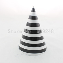 12pcs Wholesale Cheap Kids Wedding Carnival Birthday Black Striped Paper Halloween Party Hats,Decorative Stripe Tea Party Caps(China)