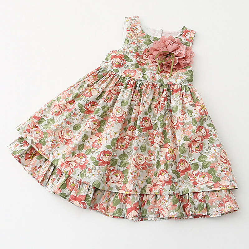 2017 Kids clothing summer dress for girl summer style girl dress floral print cotton baby children clothes<br><br>Aliexpress