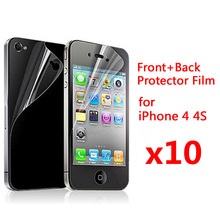 10pcs Front + 10pcs Back Clear glossy Screen Protector For iphone 4 4S 5S SE 6 6s 6P 6sPlus Guard Protector Film Scren Protector