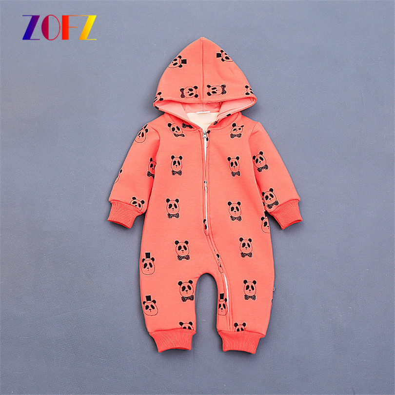ZOFZ New Baby Clothes One-Piece Baby Girl Romper Print Hooded Babys Climbing Zipper Clothes O-neck  Newborn Clothing for Babies<br><br>Aliexpress