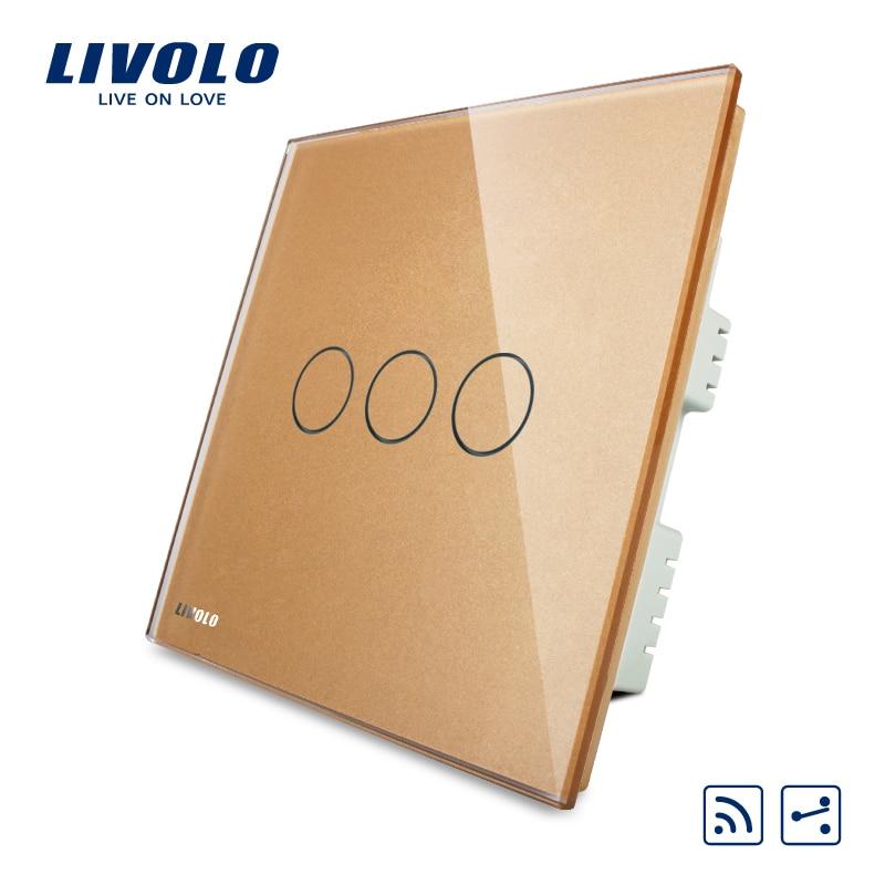 Livolo UK standard 3gang 2ways Wireless Intermediate Remote Switch,Luxury Crystal Glass Panel, AC220-250V,VL-C303SR-63,No remote<br>