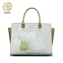 PMSIX New fashion handbags for women Printing flowers Designer bags multifunction versatile High Quality Green Shoulder tote Bag(China)