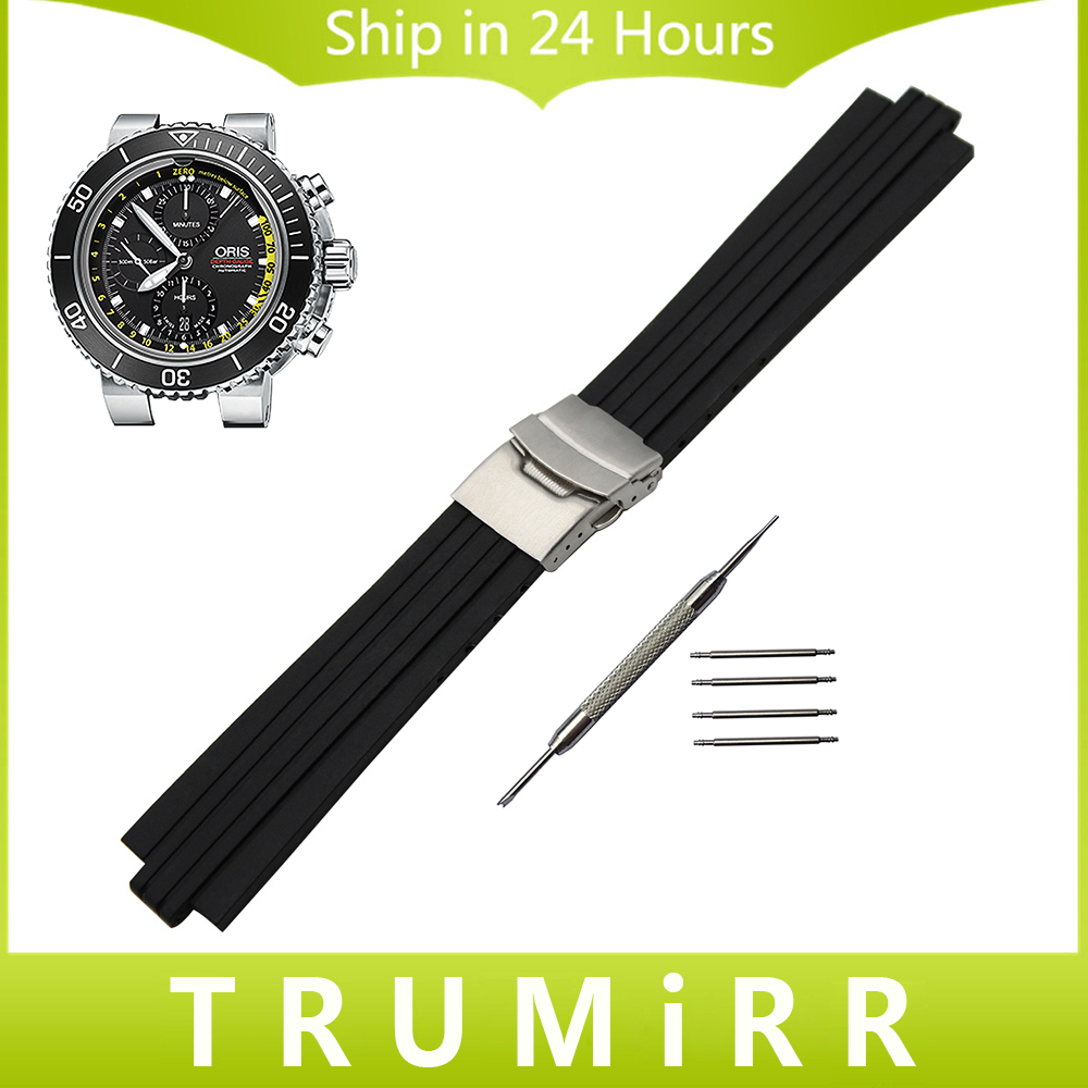 24mm x 11mm Silicone Rubber Watchband for Oris Aquis Watch Band Convex Strap Stainless Steel Safety Buckle Wrist Bracelet Black<br><br>Aliexpress