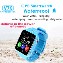 V7K Kids GPS Smartwatch Children Safe Anti-lost Camera Voice Monitor Watches Family SOS Call Location Heath Tracker Waterproof(Hong Kong)