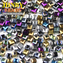 JHNBY Square shape Austrian crystal beads High quality 4mm 100pcs quadrate Plating glass Loose beads Jewelry bracelet making DIY