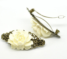 French Barrette Hair Clips Antique Bronze Pattern Hollow White Pink Resin Flower 7.9cm x 3.7 / 3.5 cm, 2 Pcs