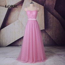 LORIE Hot Pink Bridesmaid Dress Spaghetti Strap A-Line Tulle Satin Sashes Long Prom Dress for Party robe demoiselle d'honneur(China)