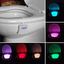 2017 8 Color Changing LED Lamps Body Washingroom Motion Bowl Toilet Nightlight Activated On/Off Lights Seat Sensor Lamp