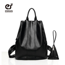 ecosusi 2016 New Brand PU Leather Backpack School For Teenage Girls Black Women Backpack With Small Change Bags For Travel