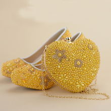 Yellow Pearl Women High Heel Shoes Round Toe Rhinestone Wedding Party Prom Shoes with Matching Bag Adult Ceremony Pumps Clutch