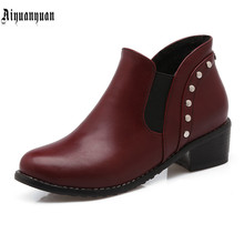 European Size to 43 44 45 46 47 48 49 50 Concise high quality PU Round Toe design Boots Slip-On design Hoof Heels women shoes