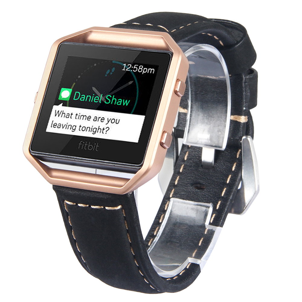 V-MORO Genuine Leather Watch Strap For Fitbit Blaze Band + Metal Frame Wrist Band Replacement Bracelet for Fitbit Blaze <br><br>Aliexpress
