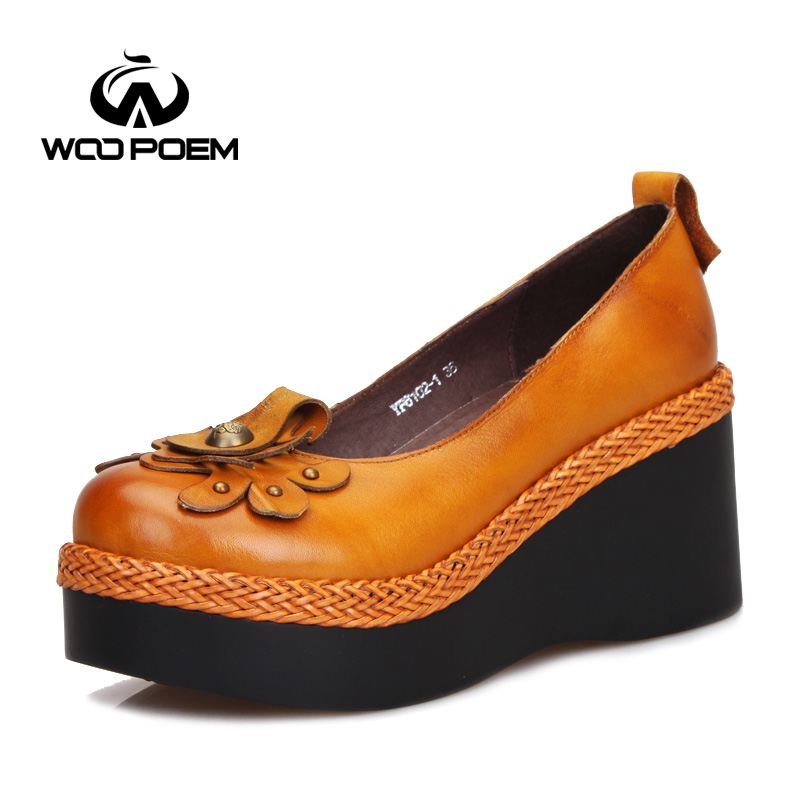 WooPoem Spring Autumn Shoes Women Cow Leather Breathable Pumps Wedges High Heels Shoes Classic Concise Flower Women Pumps 6102-1<br><br>Aliexpress