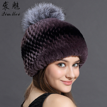 Winter Hats Beniees For Women's Real Rex Rabbit Fur With Fox Fur Pompom Caps Female Hat Lined Natural Genuine Fur Hats Russian