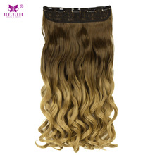 "Neverland 24"" 60cm Wavy Synthetic Hair One Piece Clip in Hair Extensions Ombre Blonde Hairpiece Fake Hair(China)"