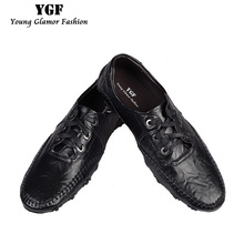 YGF New Spring Men Casual Loafers Shoes Moccasins Genuine Leather Flat Shoes Slip On Men Loafers Breathable Driving Shoe(China)