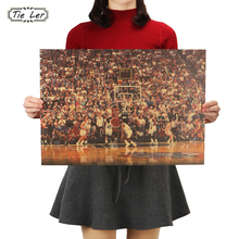 TIE LER Basketball Sports Kraft Retro Poster Kraft Paper Decoration Wall Sticker(China)