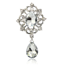SHUANGR Jewelry Store New Arrival Flower Brooches Bouquet European Style Clear Cubic ZIrcon Wedding Bridal Apparel Accessories