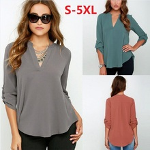 Buy Large Size Women's Blouses Loose Elegant Long Sleeve Chiffon Blouse Tops Casual V-Neck Solid Shirt Plus Size 5XL Women Clothing for $8.78 in AliExpress store