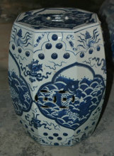 Antique Chinese HAND PAINTED fish Blue and White Ceramic Garden Furniture Stool