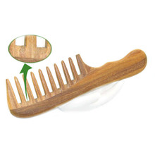 1Pcs New Natural Sandalwood Handmade Wide Tooth Comb Wooden Massage Combs Hair Styling Care Tools(China)