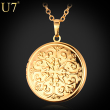 U7 Vintage Locket Necklaces For Women Jewelry Gold Color Fancy European Style Photo Box Pendant Necklace P415