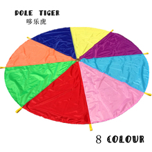 Dole Tiger 2M Children Outdoor Sports Game Toys Team Exercise Rainbow Parachute Toy Jump-sack Ballute Play Parachute 8 colours(China)