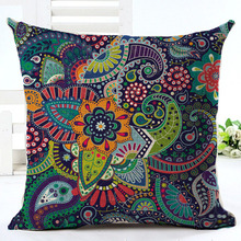 Woven Linen Geometric Cushion Cover Sofa Car Home Decorative Throw Pillow Bohemia Paisley Style SIZE 45*45 Cojines(China)