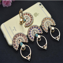 Colorful Sparkling Mobile Phone Case Charms 360 Ring Stand Finger Bracket Decoration Rhinestones Peacock Holder Bling Diamond