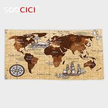 Custom Microfiber Ultra Soft Bath/hand Towel,Map Hand Drawn Sketch Retro World Map with Lettering Old Historic Artwork Print