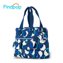 Findpop Flowers Printing Handbags Women 2018 New Fashion Totes For Women Crossbody Bag Large Capacity Waterproof Nylon Tote Bags(China)